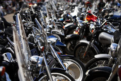 Streets of Sturgis. Numerous bikes parked in the middle of the street in Sturgis, SD royalty free stock photos