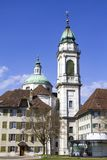 Streets of the Swiss city of Solothurn. The streets of the Swiss city of Solothurn on a beautiful spring day stock images
