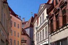 The streets of Tallinn. The upper floors and roofs of Tallinn Royalty Free Stock Image