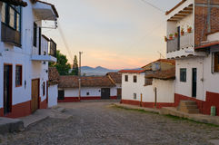 Streets of Tapalpa at Daybreak. Cobblestone streets of alpine village Tapalpa Mexico with mountains on horizon at daybreak Royalty Free Stock Photo