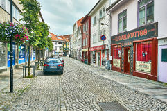 Streets tattoo. Stavanger, Norway - July 26, 2015: Streets tattoo of Colored traditional buildings of the historic center of Stavanger architecture. Fjord royalty free stock photos