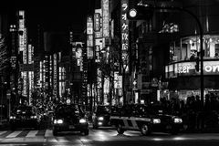 Streets and Taxy in Tokyo Royalty Free Stock Photos