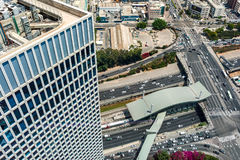 Streets of Tel Aviv from above. View of urban roads, freeways and modern building in Tel Aviv, Israel royalty free stock photos
