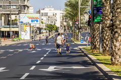 The streets of Tel Aviv during the religion holiday Yom Kippur,. The streets of Tel Aviv during the holiday Yom Kippur, September 26, 2012 Stock Photo