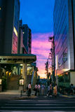 Streets of Tokyo in Dawn. Street view on Tokyo in Dawn Stock Photo