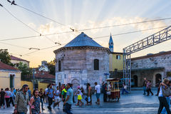 Streets in the tourist center of Istanbul, Turkey. Shops and cafes Stock Images