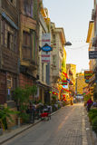 Streets in the tourist center of Istanbul, Turkey. Shops and cafes Royalty Free Stock Images