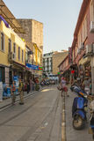 Streets in the tourist center of Istanbul, Turkey. Shops and cafes Stock Photography