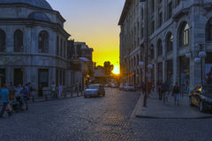Streets in the tourist center of Istanbul, Turkey. Shops and cafes Royalty Free Stock Photo