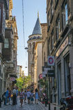 Streets in the tourist center of Istanbul, Turkey. Shops and cafes Stock Photos
