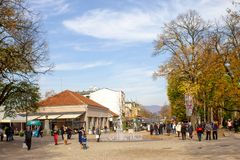 The streets of town in autumn - Vrnjacka Banja, Serbia. Vrnjacka Banja is a popular tourist destination in Serbia, a place that every year visit a millions of stock photography