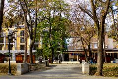 The streets of town in autumn - Vrnjacka Banja, Serbia. Vrnjacka Banja is a popular tourist destination in Serbia, a place that every year visit a millions of royalty free stock image