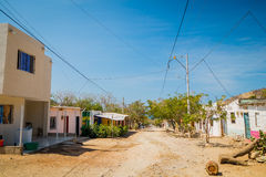 Streets in the town of Tanganga beach, Santa Marta Stock Photos