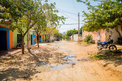 Streets in the town of Tanganga beach, Santa Marta Stock Images