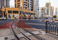 Streets and Traffic at JBR. Dubai - UAE. 12 July 2018. Streets and traffic in JBR area Stock Photography