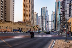 Streets and Traffic at JBR. Dubai - UAE. 12 July 2018. Streets and traffic in the JBR area Royalty Free Stock Image