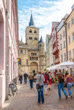 In the streets of the Trier. TRIER, GERMANY - AUGUST 22,2014 - In the streets of the Trier. Trier lies in a valley between low vine-covered hills of red Stock Image