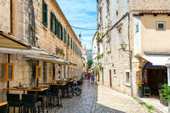 Streets of Trogir 2. Trogir is a historic town and harbour on the Adriatic coast in Split-Dalmatia County, Croatia Since 1997, the historic centre of Trogir has Royalty Free Stock Photography