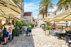Streets of Trogir 3. Trogir is a historic town and harbour on the Adriatic coast in Split-Dalmatia County, Croatia Since 1997, the historic centre of Trogir has Stock Photo