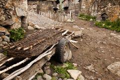 The streets of Ushguli, Georgia. Ushguli or Ushkuli is a community of villages located at the head of the Enguri gorge in Upper Svaneti, Georgia Stock Photography