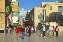 Streets of Valletta, Malta. Central streets of Valletta- capital of Malta Royalty Free Stock Photos
