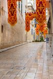 Streets of Valletta during a religious feast. VALLETTA, MALTA - AUGUST 23, 2017: The Feast of St. Dominic is celebrated in the town of Vittoriosa Birgu in Malta Stock Image