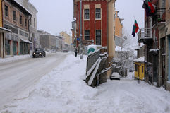 Streets of Veliko Tarnovo in the Winter Royalty Free Stock Photos