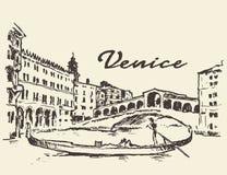 Streets Venice Italy gondola illustration drawn Stock Photo