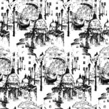 Streets in Venice Italy with gondola. Seamless pattern. vector illustration