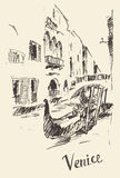 Streets Venice Italy with Gondola Vintage Engraved Stock Photo