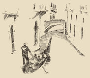 Streets Venice Italy with Gondola Vintage Engraved Royalty Free Stock Photos