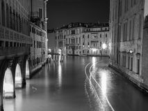 The streets of Venice Long exposure By Night Stock Images