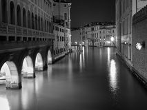 The streets of Venice Long exposure By Night Stock Photo
