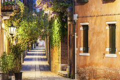 Streets of Venice at night Stock Photo