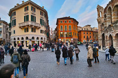 Streets of Verona at holiday season Stock Photos