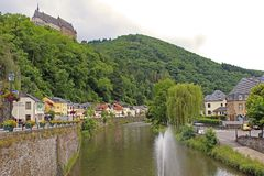 Streets in Vianden, Luxembourg Royalty Free Stock Images