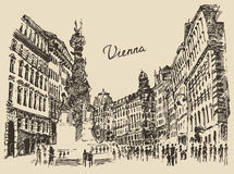 Streets in Vienna Austria hand drawn illustration. Streets in Vienna Austria hand drawn vector illustration sketch engraved style Royalty Free Stock Images