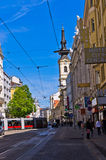 Streets of Vienna at downtown across channel of Danube river Stock Image