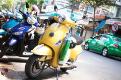 On the streets of Vietnam Danang retro motorcycle Stock Image