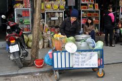 Streets of Vietnam - Hanoi market with street food Stock Photo