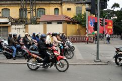 Streets of Vietnam - Hanoi traffic with scooters Stock Photos