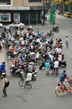 Streets of Vietnam - Hanoi traffic with scooters Stock Photography