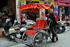 Streets of Vietnam with rickshaw - Hanoi market Stock Photos
