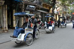 Streets of Vietnam with rickshaws - Hanoi market Stock Photos