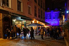 Streets of Vieux Lyon during Festival of lights stock photos