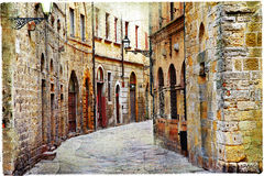 Streets of Volterra. Streets of medieval towns of Tuscany. Italy royalty free stock images