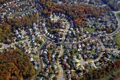 Housing development. Aerial view of a suburban housing development in autumn, Washington, USA Royalty Free Stock Photography
