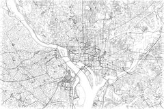Streets of Washington, city map, United States. Street vector map, black and white stock illustration