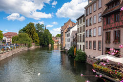 Streets and water canal Petite France in Strasbourg. Alsace Stock Photos