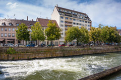 Streets and water canal in Strasbourg. Alsace Stock Photography